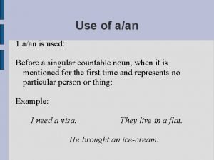 Use of aan 1 aan is used Before