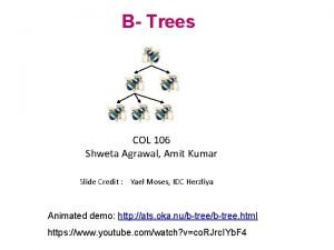 B Trees COL 106 Shweta Agrawal Amit Kumar