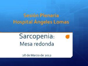 Sesin Plenaria Hospital ngeles Lomas Sarcopenia Mesa redonda