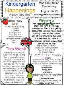 Kindergarten Happenings Ready Set Go Color Focus RED