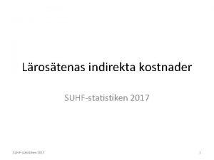 Lrostenas indirekta kostnader SUHFstatistiken 2017 1 SUHFstatistik Statistik