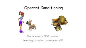 Operant Conditioning The Learner is NOT passive Learning