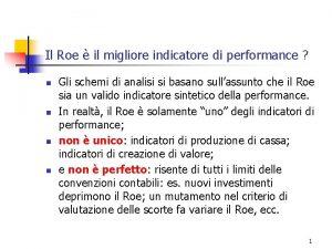 Il Roe il migliore indicatore di performance n