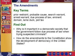 The Amendments Key Terms prior restraint probable cause