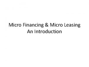 Micro Financing Micro Leasing An Introduction Textbooks Microfinance