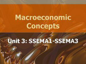 Macroeconomic Concepts Unit 3 SSEMA 1 SSEMA 3
