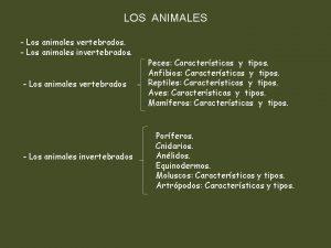 LOS ANIMALES Los animales vertebrados Los animales invertebrados