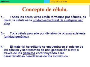 GENTICA Biologa y Geologa 4 ESO Concepto de