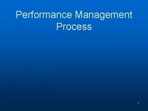 Performance Management Process 1 Overview Prerequisites Performance Planning