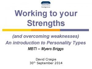 Working to your Strengths and overcoming weaknesses An