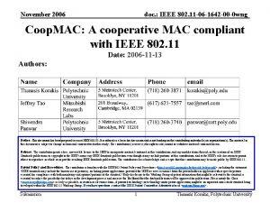 November 2006 doc IEEE 802 11 06 1642