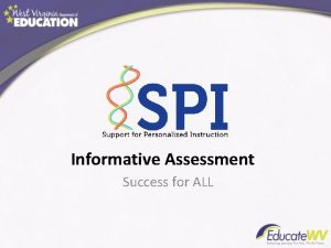 Informative Assessment Success for ALL Informative Assessment is