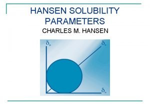 HANSEN SOLUBILITY PARAMETERS CHARLES M HANSEN WHY KEEP