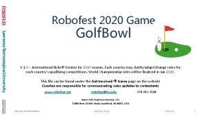 Robofest 2020 Game Golf Bowl V 1 0