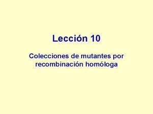 Leccin 10 Colecciones de mutantes por recombinacin homloga