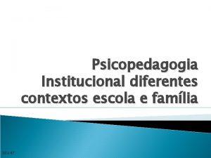 Psicopedagogia Institucional diferentes contextos escola e famlia 30