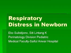 Respiratory Distress in Newborn Eko Sulistijono Siti Lintang