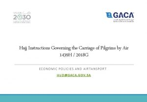 Hajj Instructions Governing the Carriage of Pilgrims by