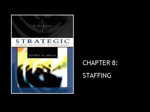 CHAPTER 8 STAFFING Staffing Staffing Process of recruiting