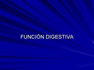 FUNCIN DIGESTIVA Funcin digestiva El aparato digestivo puede