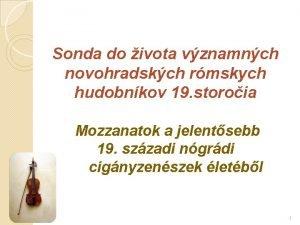 Sonda do ivota vznamnch novohradskch rmskych hudobnkov 19