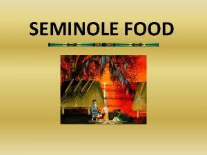 SEMINOLE FOOD How Seminole People Met Their Needs
