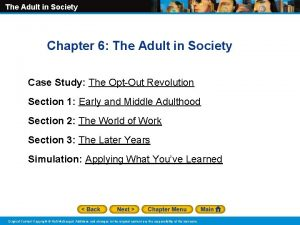 The Adult in Society Chapter 6 The Adult