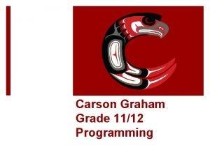 Carson Graham Grade 1112 Programming In order to
