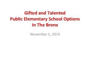 Gifted and Talented Public Elementary School Options In