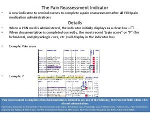 The Pain Reassessment Indicator A new indicator to