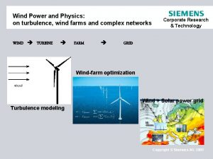 Wind Power and Physics on turbulence wind farms