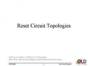 Reset Circuit Topologies Reference Analysis of POR Circuit