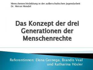 Menschenrechtsbildung in der auerschulischen Jugendarbeit Dr Meron Mendel