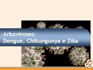 Arboviroses Dengue Chikungunya e Zika ELAS SO TRANSMITIDAS