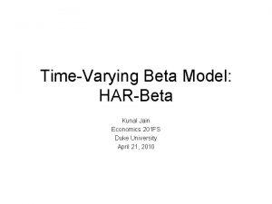 TimeVarying Beta Model HARBeta Kunal Jain Economics 201