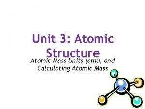 Unit 3 Atomic Structure Atomic Mass Units amu