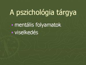 A pszicholgia trgya mentlis folyamatok viselkeds A pszicholgia