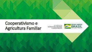 Cooperativismo e Agricultura Familiar Estrutura Organizacional Secretaria Especial