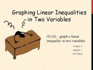 Graphing Linear Inequalities in Two Variables GOAL graph
