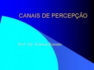 CANAIS DE PERCEPO Prof Me Robson Rosseto CANAIS