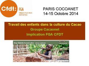 PARIS COCOANET 14 15 Octobre 2014 Travail des