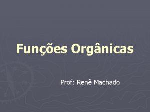 Funes Orgnicas Prof Ren Machado Funes Orgnicas O