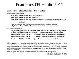 Exmenes CEL Julio 2011 Examen Teora 5 Julio
