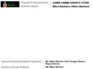 Proposed NU Business Name SAMIR SABBIR VARAITY STORE