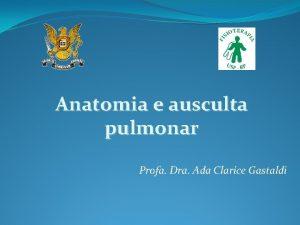 Anatomia e ausculta pulmonar Profa Dra Ada Clarice