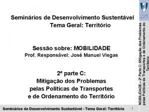 Sesso sobre MOBILIDADE Prof Responsvel Jos Manuel Viegas