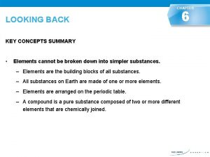 CHAPTER 6 LOOKING BACK KEY CONCEPTS SUMMARY LOOKING
