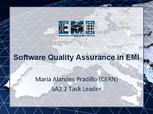 EMI INFSORI261611 Software Quality Assurance in EMI Maria