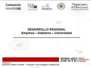 Consorcio INNOVAR DESARROLLO REGIONAL Empresa Gobierno Universidad EVOLUCIN