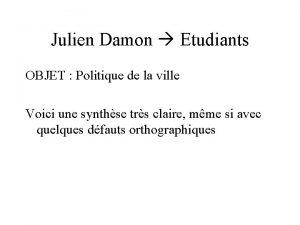 Julien Damon Etudiants OBJET Politique de la ville